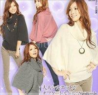 2014 new Spring summerFree shipping winter sweater cardigan women sweater fashion turtleneck bat wing sleeve coat