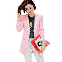 2014 spring Summer  plus size slim blazer shoulder pads lace all-match suit jacket lining Coat women Jacket Sweet Candy Pink
