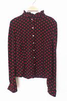 2014 spring women's vintage black-matrix red polka dot stand collar long-sleeve shirt sweet all-match Blouses,Free Shipping