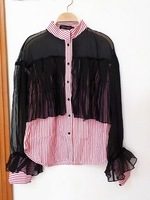 2014 spring and summer fashion sexy women's perspectivity three-dimensional tassel red stripe shirts/Blouses,Free Shipping