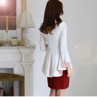 2014 spring women's slim medium-long long-sleeve casual blazer dovetail suit outerwear Female Coat Patchwork Elegant blazer