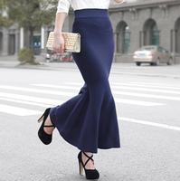 New 2014 Spring Knitted Fishtail Skirts Womens High Waist Elastic Slim Hips Skirt Long Skirt