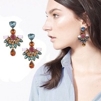 Spring 2014 European Exaggerated Copper Imitation Diamond Crystal Earrings For Women
