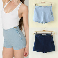 Free Shipping 7 colors American apparel aa Women vintage high waist denim shorts female denim shorts