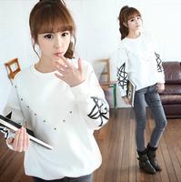 Harajuku women's plus velvet thickening clothes women's autumn outerwear sweatshirt juniors clothing autumn and winter