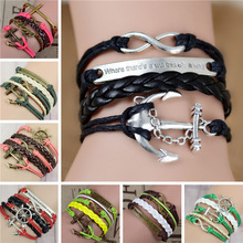 Free shipping New Fashion Exclusive bracelet,Infinity love,crosses,Ancient silver,bronze multi  hand-woven Sisters bracelet