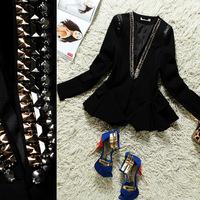 Summer fashion 2014 V-neck rivet ruffle hem slim long-sleeve suit black female xz381