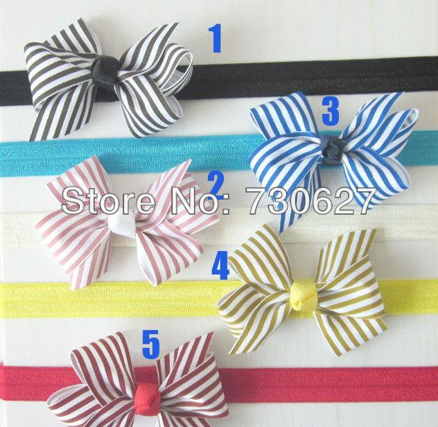 baby Elastic Headbands,soft stetch headband with baby ribbon polka dot bows ,200pcs/lot free shipping(China (Mainland))