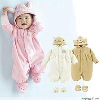 Cute Baby Rabbit Romper Infant kid children Hoodies Jumpsuit Spring Autumn Animal Costume White Bear / Pink Bunny / Brown Monkey