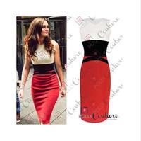 2014 New Summer Cotton Blend Sleeveless O-neck Tank Celebrity Plus Size Bodycon Patchwork Sexy Knee-length Mini Women Dress XXXL