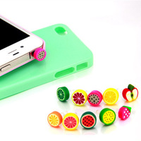 Wholesale kpop cute rainbow fruits ear Jack anti dust plug for cell phone/fashion 2014 polymer clay earphone cap free shipping