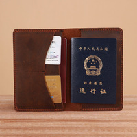 Free shipping crazy horse leather travel wallet,vintage passport protective cover/holder with card slot wholesale/retail