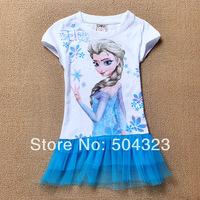 Free Shipping 6pcs/lot Hot cotton ICE girls Frozen Hoodie t shirt kids girls short sleeve t-shirt children clothes wholesale
