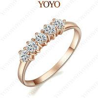 18K Rose Gold Plated 5 pcs Tiny CZ Stones Rhinestone Engagement Finger Ring  (YOYO R215R1)