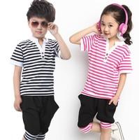 New hot boy girl child sports suit kids summer set cotton navy stripe clothing children casual set t shirt+capris 2pcs baby set