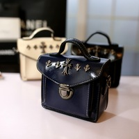 2014 women's handbag vintage rivet messenger bagfashion bag small shaping messenger bag handbag