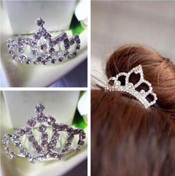 Горячая распродажа новое поступление мода корона диадемы серебряный кристалл волос ...