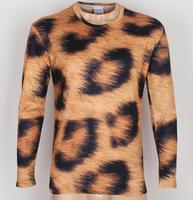 Free Shipping Fashion Men's Leopard grain 3D Creative T-Shirt # A04,Punk Three D Long Sleeve T Shirt S-6XL,Plus Size