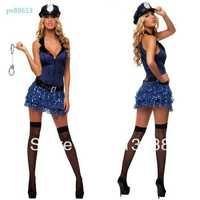 Free shipping Policewomen taste uniform temptation Blue zipper police Nightclub role playing women sexy lingerie sex dress