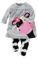 1pcs hot sale baby girl clothing set, spring casual clothing sets, little cow cute long sleeve kids blouse + pant 2pcs