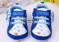Sunshine store #2X0054 3 pair/lot(blue)2014 spring Infant Baby Boy sport sneakers antiskid soft car canvas shoe Kid First Walker