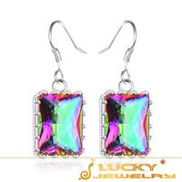 2014 New Arrival Best Rainbow Mystic Topaz Crystal 925 Sterling Silver  Earring For Women E0001