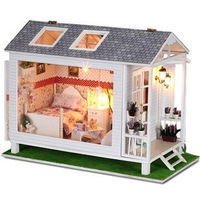 Free Shipping! 2014 new arrival cartoon girls' diy house for dolls high quality cute wood toys for children