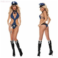 Free shipping The blue conjoined female police uniform cosplay uniform Cop Halloween Costumes appeal  women sexy lingerie dress