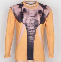 New Fashion Men's The elephant 3D Creative T-Shirt # A07,Punk Three D Long Sleeve Animal T Shirt S-6XL,Plus Size