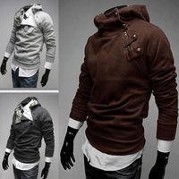 2014 NEW Hot High Collar Men's Cotton Sweatshirt,Dust Coat ,Hoodies Clothes,Oblique Zipper Outwear M-XXXL Free Shipping