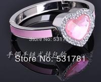 HH0012 ! 2014 Newest Stylish CZ stone Heart bracelet bag hanger,lovely pink crystal heart Bracelet purse hook women favors