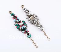 2014 Fashion Women Jewelry accessories charm multicolour vintage flower pendant bracelet 4324 Free Shipping