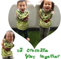 Retail 2014 Summer Children crocodile printed kids T-shirts fashion tops boy's 3D t shirt girls cute T-shirt