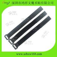 30X400mm black Custom nylon Velcro Cinch Straps without logo