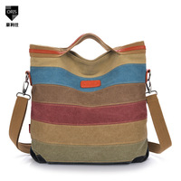 2014 new Korean women handbag stitching color stripe vintage canvas shoulder bag retro handbag factory strict sales