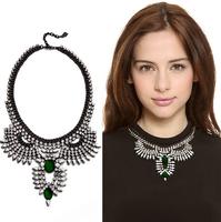 luxury necklace/ brand jewelry/ DJ2014 Summer Fox emerald sparkling crystal glass necklace