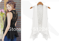 2014 Spring Autumn Summer New Woman Leisure Black White Lace Patchwork Vest Top Coat Multilayer Puls Size Free Shipping JL