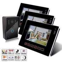 """9"""" Video Door Phone intercom system doorbell Touch screen 1 cameras 3 monitors"""