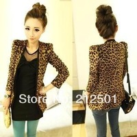 S M L XL XXL 2014 new Vintage Autumn Women Plus Large Leopard Jacket Slim Fit One Button Blazer With Shoulder Pad Suede Outwear