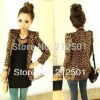 S M L XL XXL 2014 new Vintage Autumn Women Plus Large Leopard Jacket Slim Fit One Button Blazer With Shoulder Pad Suede Outwear
