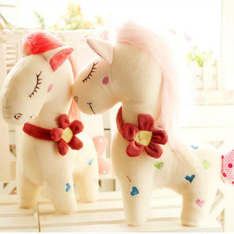 30cm Kawaii Flower Collar Heart Print Lucky Horse Plush Toy 100% Cotton Stuffed Lovers Doll Birthday Gift(China (Mainland))