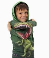Free shipping New Arrival children 3D dinosaur cotton fleece long sleeve boys girls T-shirts,summer female kids girl t-shirt