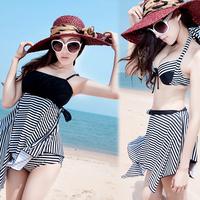 Sexy fashion black&white stripe bikini 4pcs hot spring bathing suit with steel pad Fission skirt swimwear L-4XL swimsuit