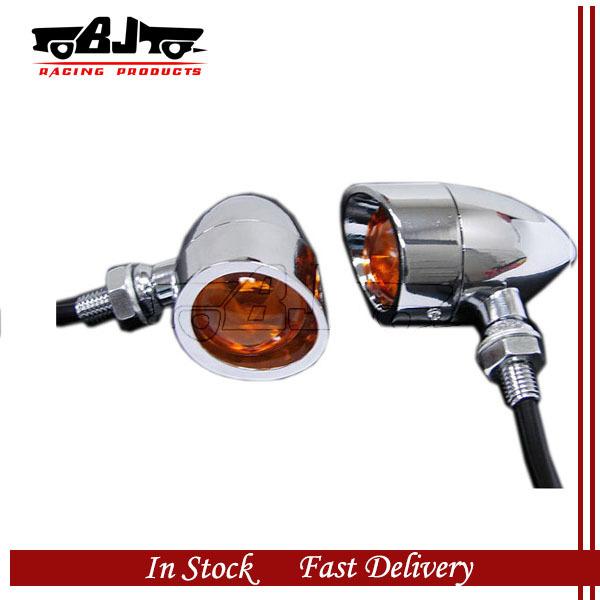 Bj-sl-018 ein Paar 12 v universal verchromt motorrad blinker blinker beleuchtung gelb glühbirne für atv