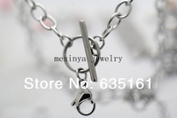 20pcs 20'' 6mm width flat cable stainless steel toggle chain necklace for floating charms glass locket