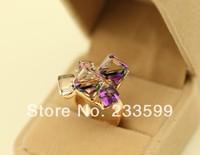 [DHL free delivery] any 6pcs/lot Popular Modern Crystal block circlet  Elegance purple stone finger ring