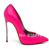 2014 New Fashion Women Pointed Toe Pink Pumps Sexy Metal Heel High Heels