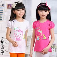 2014 summer new children's clothes cartoon hello kitty girls cotton short-sleeved t-shirts 6-14