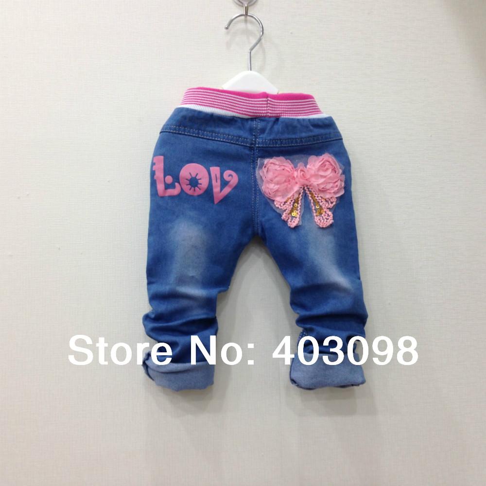 Джинсы для девочек girl flower sequins jeans pant kids denim pant leisure trousers 2-5 years