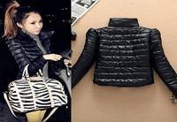 Fashion Black Womens Ladies Jacket Gathered Solid Zipper Coat Vintage Slim Cool Bling Outwear, Free Drop Shiping.